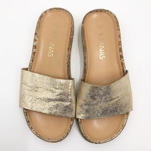 KAANAS Maldives gold metallic slides sandals 8